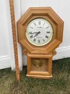 "Daniel Dakota Schoolhouse Regulator quartz Westminster chime. Model 3920K. Measures 25"" tall."