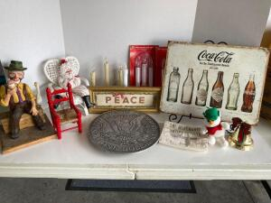 Christmas, Coca-Cola, clowns and more! One dollar heavy metal pewter trivet, electric candles, clown sculpture, Coca-Cola reproduction sign, MNB Cedar