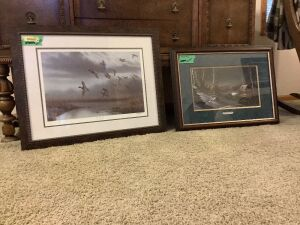 "Two pieces of wall art-""Into the Fog"" S/N 2175/5500 Richard Clifton and ""Evening with Friends"" Terry Redlin Measure 25 x 32 and 28 x 22 respectively"