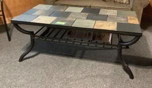 Slate top coffee table measures 4' x 2'
