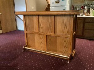 Oak bar measures 58 x 24 x 42, has three adjustable shelves Sorry contents not included!  Buy the next 2 lots also to go with!! Check out all 3 pieces together in the last photo!