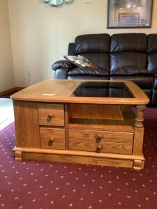 Modern oak coffee table measures 36 x 36 x 17 Be sure to see all photos, this piece has a TON of storage!!