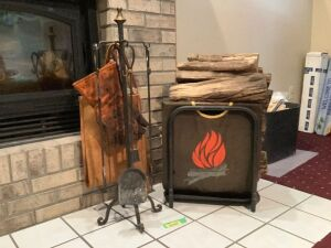 Fireplace tools, glove, wood holder and wood