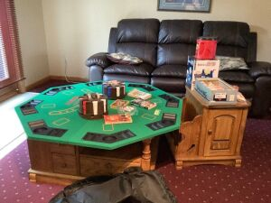 "Octagon 48"" Gaming top and all the accessories-dominos, cards and poker chips, gaming books, deluxe bingo cage set and case for the table Psst.. it fits great on top of the coffee table in Lot 9740!!!"
