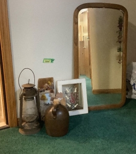 Dietz lantern, jug, artwork and vintage wall mirror