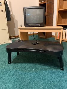 "Cooling laptop desk, Sansui 14"" TV and modern rolling TV stand measures 27 x 16 x 16"