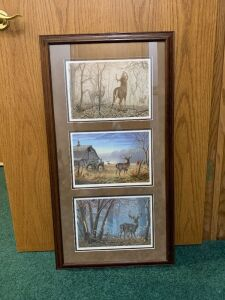 Framed and signed Larry Zach artwork measures 18 x 35