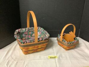 Be Easter ready with these two Longaberger baskets with liners and protectors Both baskets are marked 1998 edition