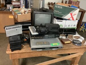 Electronics grouping-cassette tapes, Kawasaki DVD/CD changer, Sharp CD player, radios, IPOD, laminator, Sony headphones Orion TV/VHS player and other misc. items
