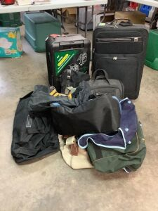 Two rolling suitcases and other misc. bags One of the suitcases is convertible to a table