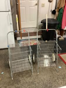 Two grocery carts modified for hauling flea market treasures!!
