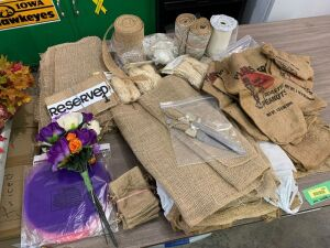 Country wedding supplies-burlap, raffia, cake serving set, tulle, table reserved placards, small burlap gift bags, Planters burlap bags for repurposing