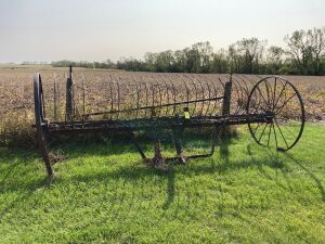 12-ft steel wheel dump rake make good yard art