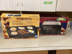 Presto cool touch electric griddle, Hamilton Beach automatic roaster oven 18 quart capacity.