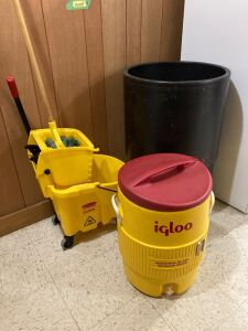 Open ice  drink cooler, Rubbermaid commercial mop/bucket, Igloo Industrial 10-gal cooler - needs some cleaning on inside.