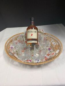 750ml bottle of Pendleton Blended Canadian Whiskey and a set of four Isaac Mizrahi old fashioned glasses in a weave pattern FMV: $60