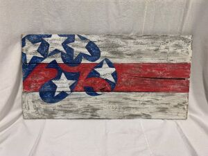 Barnboard Tiger Hawk flag Measures 33 x 17 FMV: $50