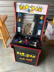 "Arcade1Up Pac-Man arcade game - model 7030 (08/2018), classic upright 'cabinet' design, two games in one: Pac-Man and Pac-Man Plus - measures 19""L x 22.5"" W x 46"" H, coinless operations, plugs into an a/c outlet"