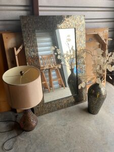 "Contemporary mosaic tiled mirror (32""W x48""H), vase (22""H) and lamp (few tiles have come off of the corners of the mirror)- very pretty!"