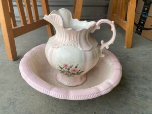 Pink pitcher and matching bowl with rose motif on the front - marked Amers