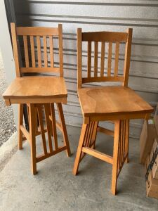 "2 solid maple handcrafted bar height chairs from Amish Kalona, IA - measure 4' H x 18.5"" L x 17.5"" W (30.5"" H seat). See chair mates in lot 300."