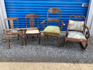 4 antique chairs and a single tree/or yolk - great for upcycling/repurposing as all chairs are in need of repair