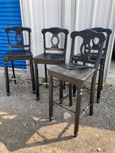 "Four black wood barstools - measure 46"" H (30"" H seat) x 18.5"" L x 17"" W - see photos for condition"