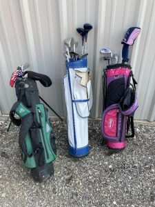 3 sets of junior golf clubs (not complete sets) and bags - Wilson, La Jolla, Nike, Sears, Bazooka, Dunlop