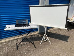 Casio electronic keyboard w/ stand (WK-220) and a vintage Elite projector screen - see all photos for condition