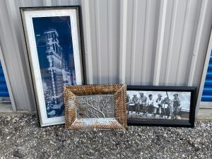 2 large framed posters and a large glass Pier 1 serving tray (22x17) - Rockefeller Plaza 1932 measures 39 x 16.5 and Building (possibly Times Square) poster measures 17.5 x 42