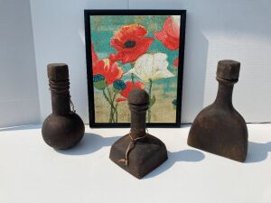 "3 large clay, primitive, pottery vases (12"" H, 14.5"" H, 15"" H) and framed Poppy wall art measures 18x22 made in Canada"