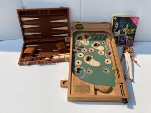 Old Century Golf tabletop pinball game (no pinball), Charlie's Angels jigsaw puzzle BOX ONLY, Farrah doll, backgammon game (missing a piece)