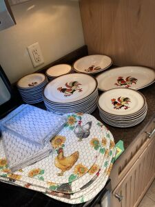 Poppy Trail by Metlox-12 dinner plates, 8 dessert plates, 12 bowls, 12 saucers, serving plate and serving bowl