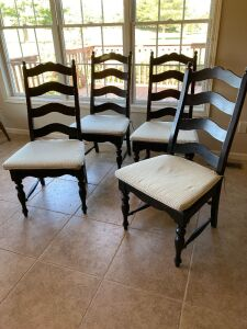 Four Kincaid brand ladderback modern dining chairs w/ pads, very well made!