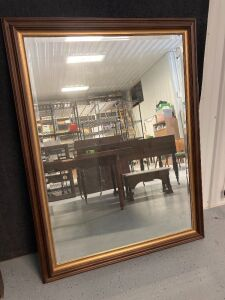 "Large dark wood framed mirror - measures 45.5""W x 61""H - circa 1980s"