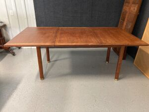 "Midcentury Dunbar Furniture, Berne, Indiana dining table measures 78""L x 42""W x 29""H - tabletop is in 3 pieces. See lot 10824 for the matching chairs!"