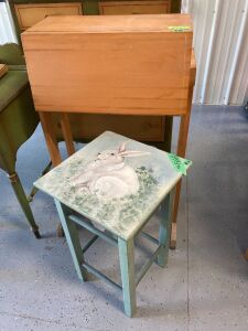 "Boos drop-front secretary and an end table with hand painted bunny art on top - secretary measures 26""L x 22.5""W x 41.5""H with drop-front extended) and end table measures 16""L x 16""W x 26""H"