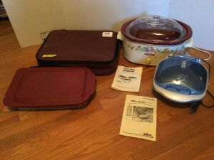 Pyrex Portables insulated pan carrier with glass baking dish,  a large Rival crockpot with removable insert, and a George Foreman grill