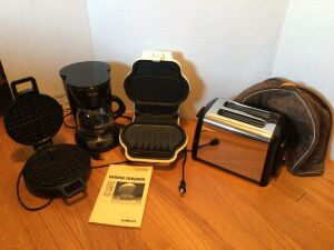 Hamilton Beach two slice toaster, ToastMaster waffle iron, small Mr. Coffee coffee maker, George Foreman grill