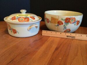 Two pieces of Hall china in Poppy pattern-covered casserole and mixing bowl