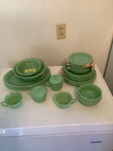 Misc. Fire King jadeite dishes-plates, pie plates, saucers, cups bowls, four platters, etc.