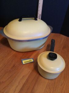 Two pieces of Club Aluminum cookware-small sauce pan and covered roaster
