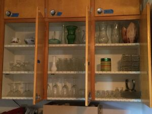 3 cupboards full including Candlewick plates, candlewick cups, goblets and wine glasses, cream and sugar, salt and pepper