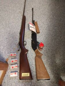Winchester Model 57A 22 bolt action rifle and a Crossman BB gun with BB's and four boxes of 22 long rifle **This group will require buyer to provide current gun permit**