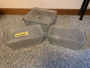 Three Anchor Hocking glass refrigerator dishes