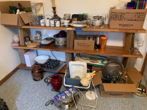 Various housewares includes wine glasses, cups, cookie sheets, muffin tin, small kitchen drawer items, bottles, cooler, waffle iron *Shelves not included*