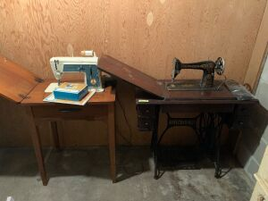 Singer treadle sewing machine and a Singer electric sewing machine with cabinet