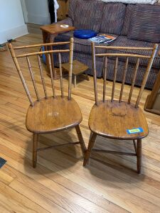 Two slab seat spindle back straight chairs