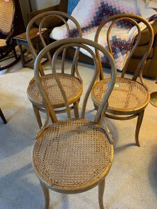 3 Thornet Chair Company bent wood cane seat chairs