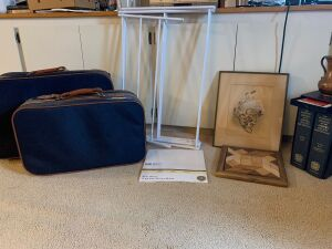 Two pieces of luggage, metal clothes drying rack, handmade wooden puzzle, two volume Oxford English dictionary set w. reading glass and more